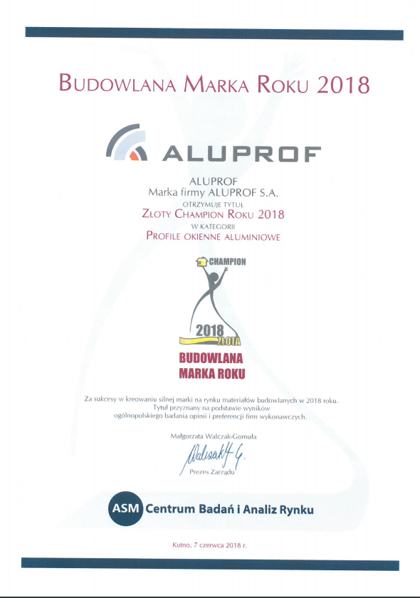 "Golden Champion Award 2018 in the category ""Aluminium window profiles"""