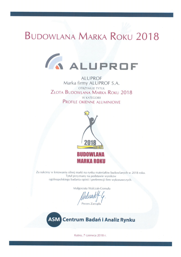 "Golden Construction Brand Award 2018 in the category ""Aluminium window profiles"""